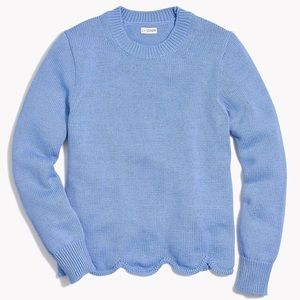 J crew scallop hem sweater pale blue pullover